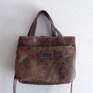 Relic Brown embossed satchel